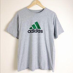 Adidas Men's Gray Big Logo Crewneck Tee Shirt